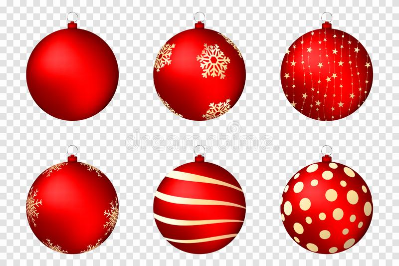 Realistic christmas balls isolated on transparent background. Glossy red christmas balls with golden patterns royalty free illustration