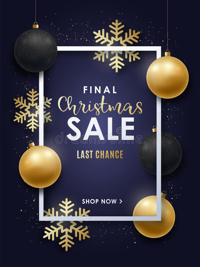 Realistic Christmas design with gold and black Christmas decorations. stock illustration
