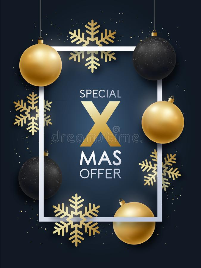 Realistic Christmas design with inscription Special Xmas Offer. royalty free illustration