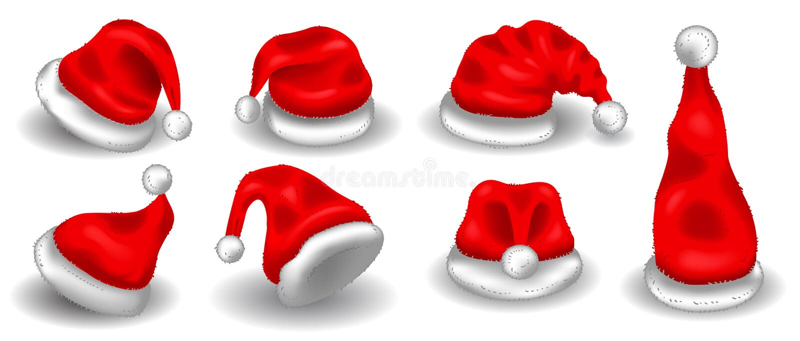 Realistic christmas santa claus red hats isolated vector set. Santa claus cap to xmas holiday celebration illustration royalty free illustration