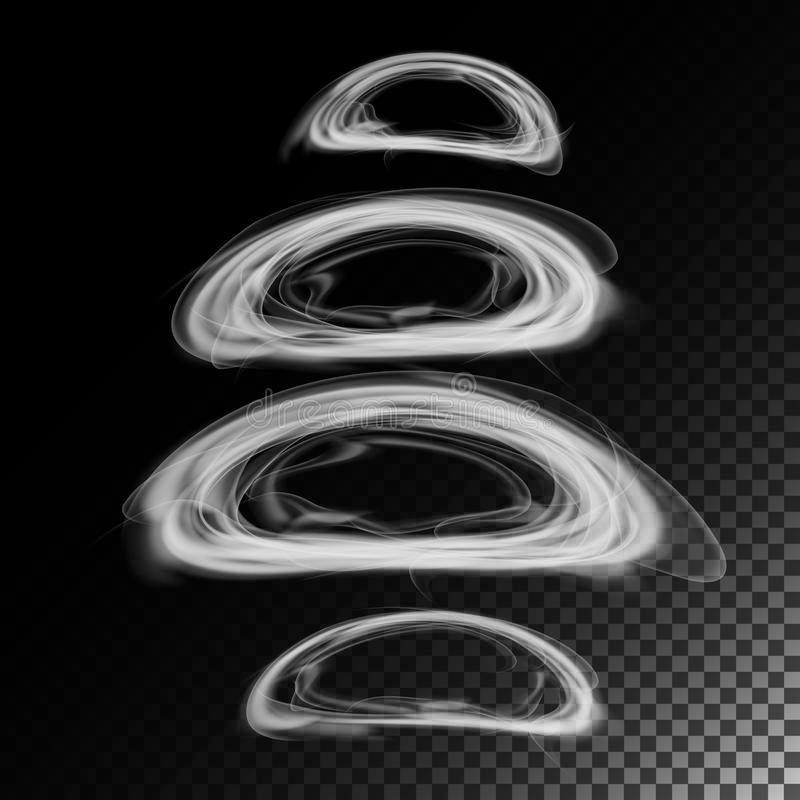 Realistic Cigarette Smoke Waves Vector. 3d Illustration. Smoking Symbols On Gray. Smoke Rings. stock illustration