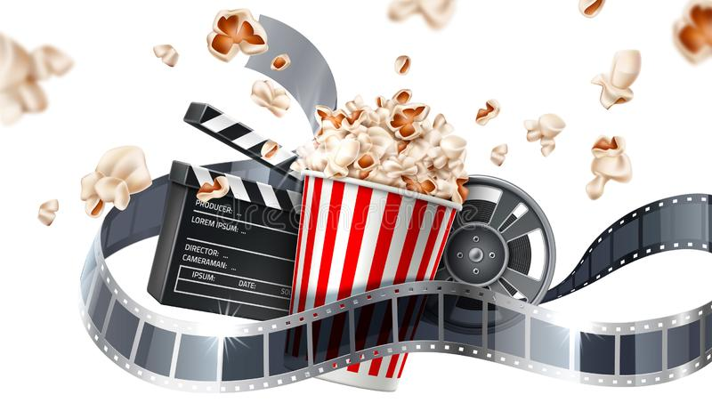 Vector movie cinema poster flying popcorn tape vector illustration