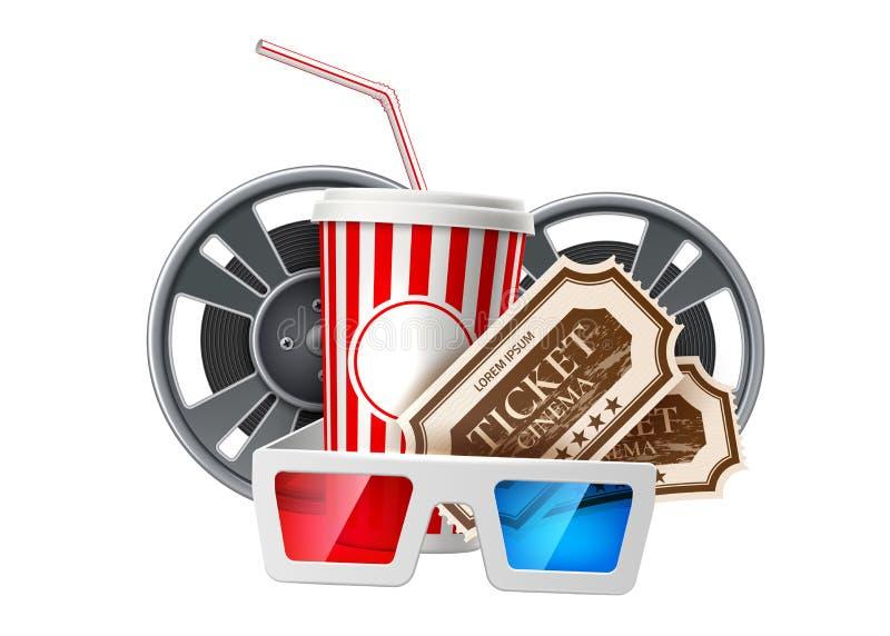 Vector movie cinema poster popcorn tape glasses. Realistic cinema advertising poster. Popcorn bucket, movie tape reel, cinema 3d glasses and tickets. Film stock illustration
