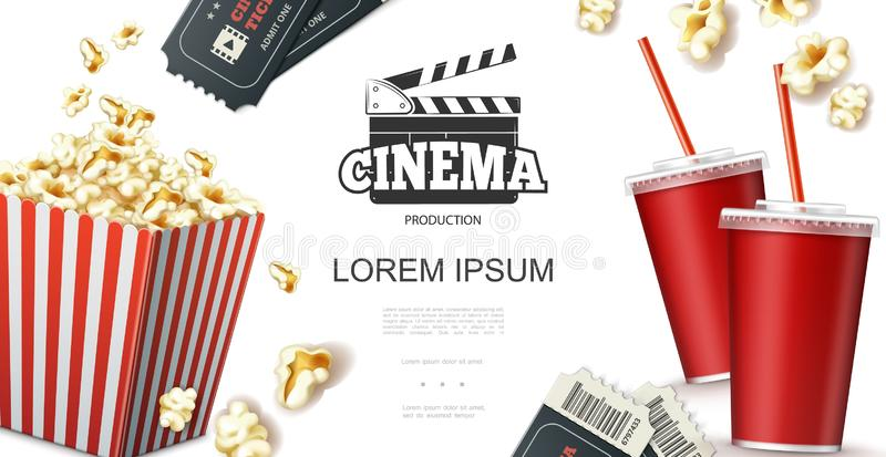 Realistic Cinema Elements Concept. With soda in paper cup tickets clapperboard and popcorn in red striped bucket vector illustration stock illustration