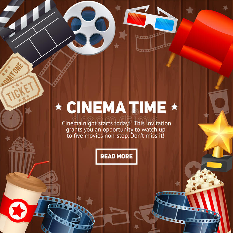 Realistic cinema movie poster template. With film reel, clapper, popcorn, 3D glasses, concept banner on wooden planks background royalty free illustration