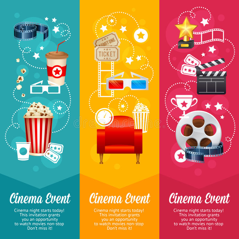 Realistic cinema movie poster template. With film reel, clapper, popcorn, 3D glasses, conceptbanners stock illustration