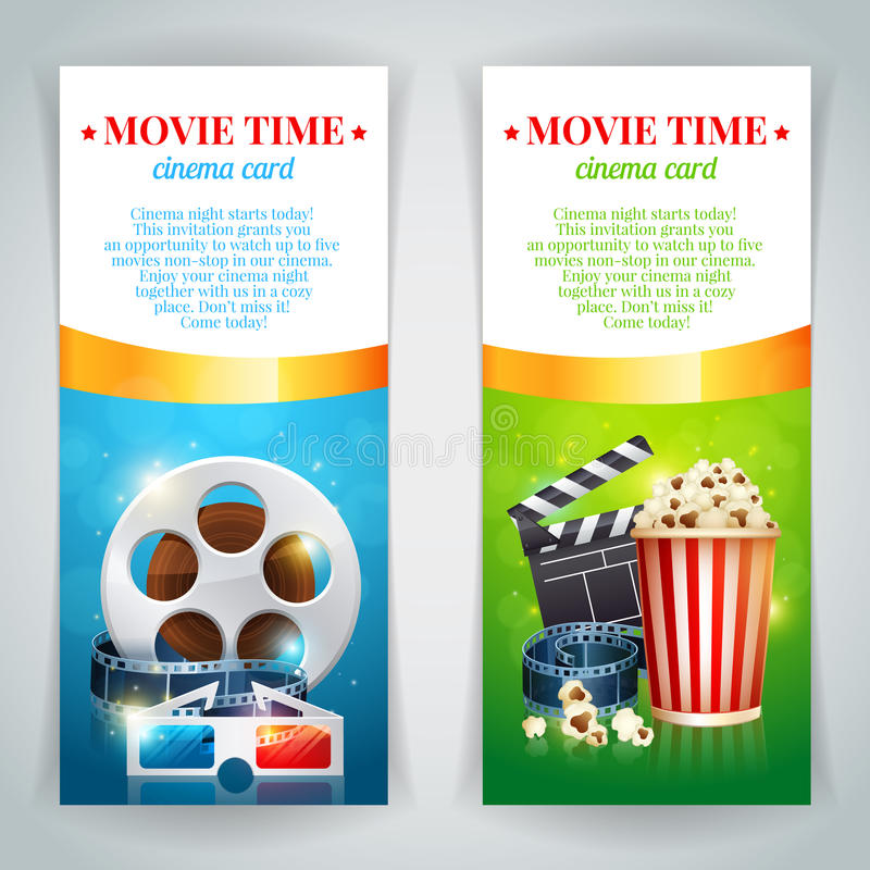 Realistic cinema movie poster. Template with film reel, clapper, popcorn, 3D glasses, conceptbanners with bokeh royalty free illustration