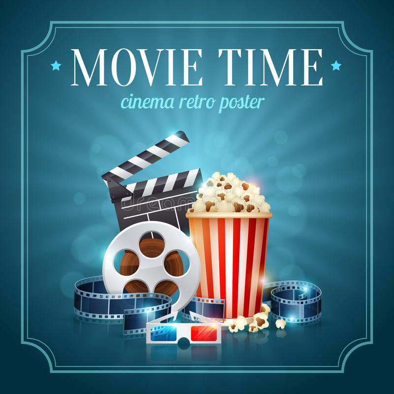 Realistic cinema movie poster. Template with film reel, clapper, popcorn, 3D glasses, conceptbanners with bokeh vector illustration