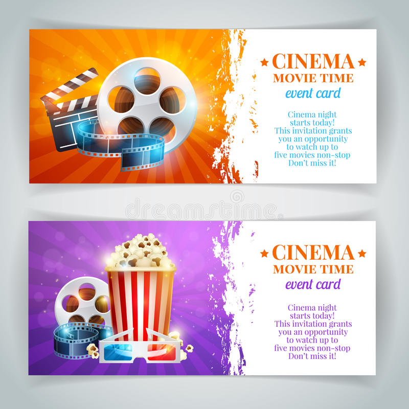 Realistic cinema movie poster template. With film reel, clapper, popcorn, 3D glasses, conceptbanners with bokeh stock illustration