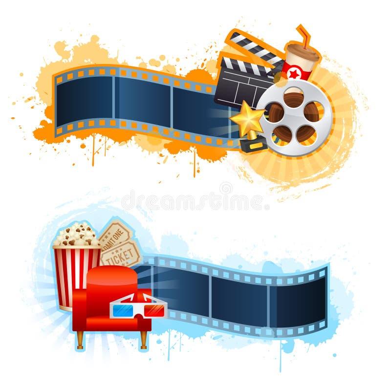 Realistic cinema movie poster template stock illustration