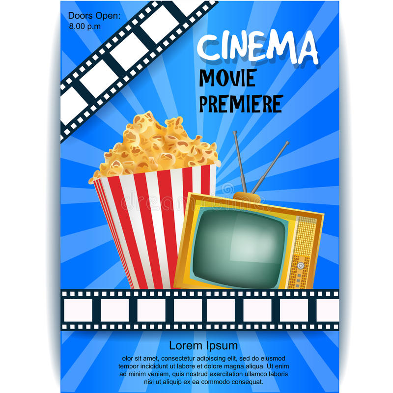 Realistic Cinema Poster. Movie Premiere. Template Banner with TV stock illustration