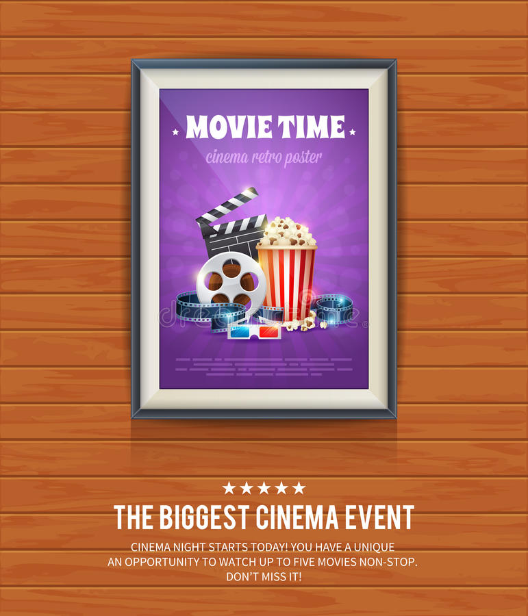 Realistic cinema poster in a wooden picture frame vector illustration