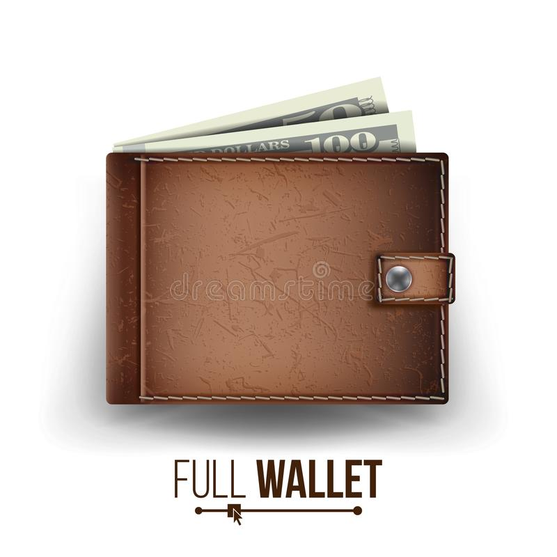Realistic Classic Brown Wallet Vector. Money. Top View. Financial Concept. On White Background Illustration stock illustration