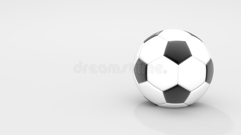 Realistic classic leather soccer ball on white background. Sport and Activity concept. 3D illustration rendering. Blank and copy stock photos