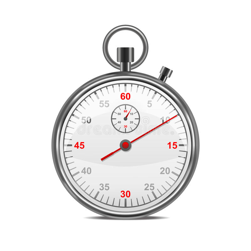 Realistic Classic Metal Stopwatch. Vector stock illustration