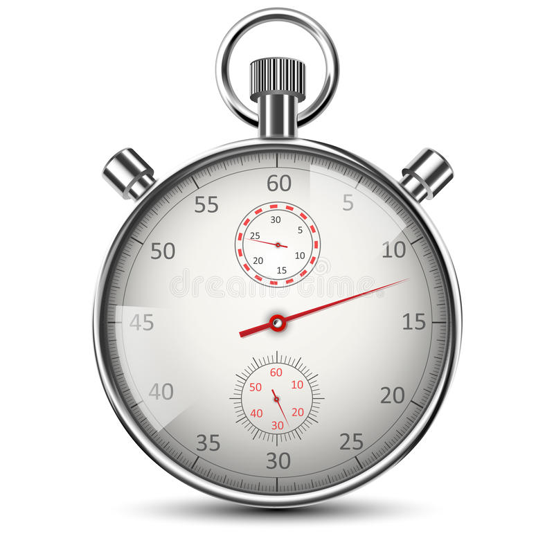 Realistic Classic Stopwatch on White vector illustration