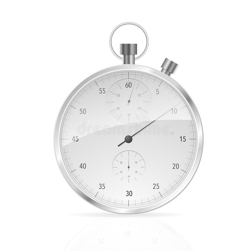 Realistic Classic Stopwatch on White. stock illustration