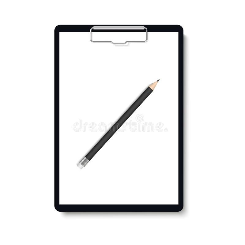 Realistic clipboard folder with pencil and blank white sheet of paper mock up. Vector stock illustration