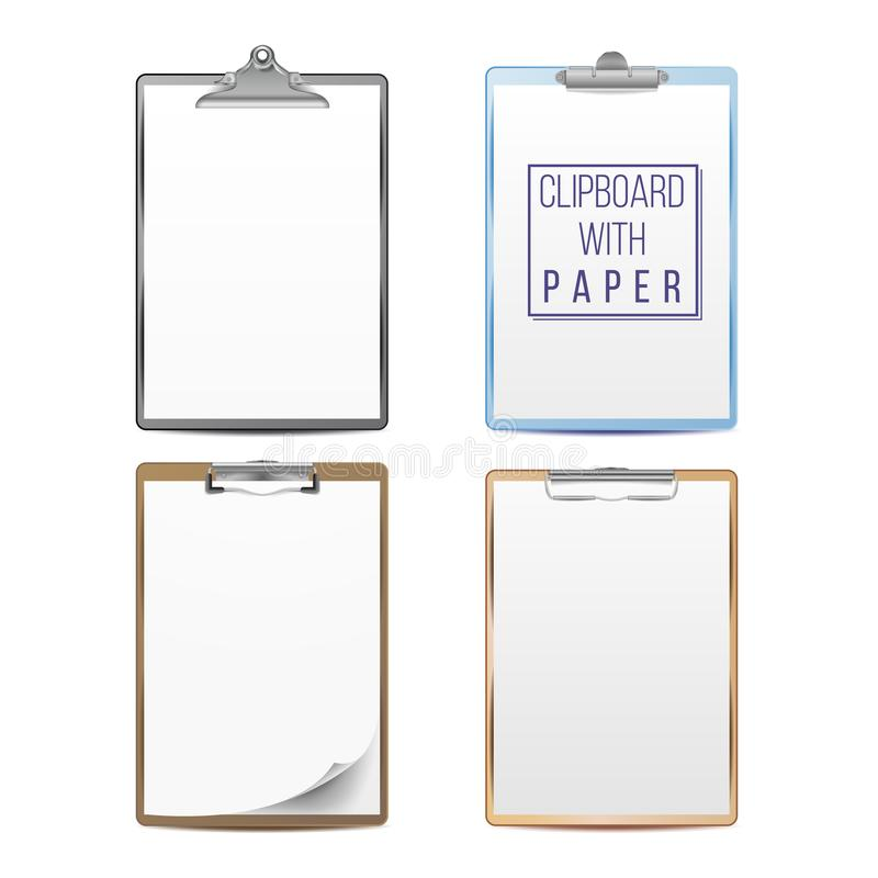 Realistic Clipboards Set Vector. Mock up For Your Design. Paper A4 Size. Isolated On White Background. Top View vector illustration