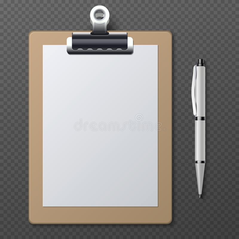 Realistic clipboards with blank white paper sheet and pen. Vector business template royalty free illustration
