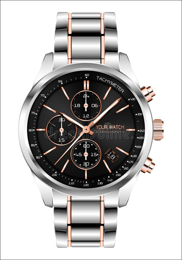 Realistic clock watch chronograph steel copper black face white number luxury for men isolated background vector vector illustration