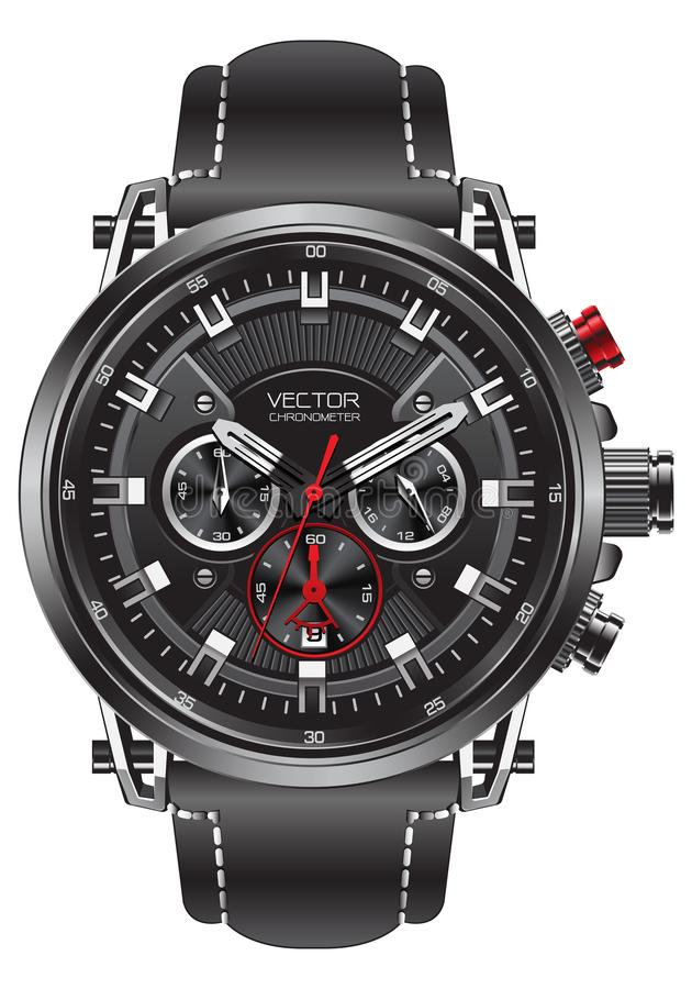 Realistic clock watch sport chronograph black silver red steel for men luxury on white background object vector vector illustration