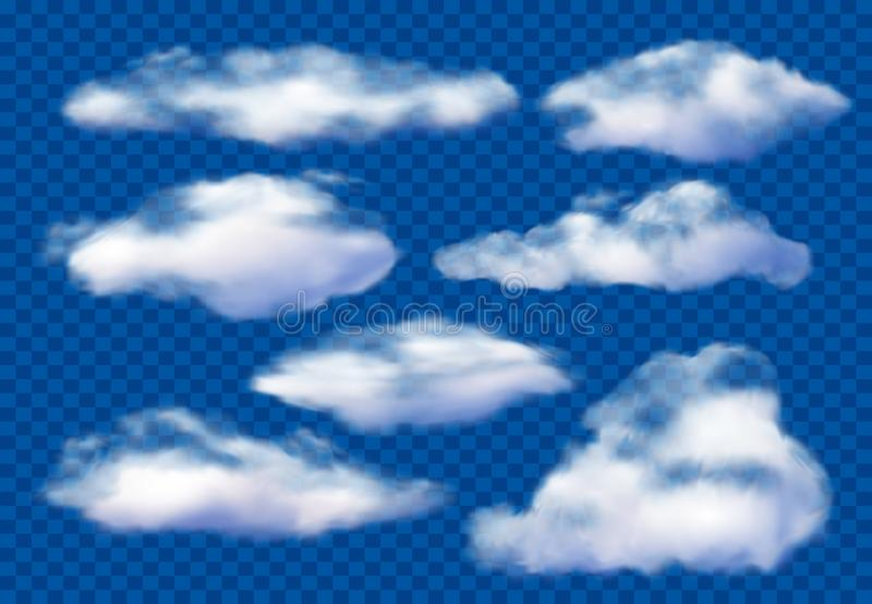 Realistic clouds. Cloudy sky, fluffy cloud and white vapor clouds isolated 3D vector illustration set royalty free illustration