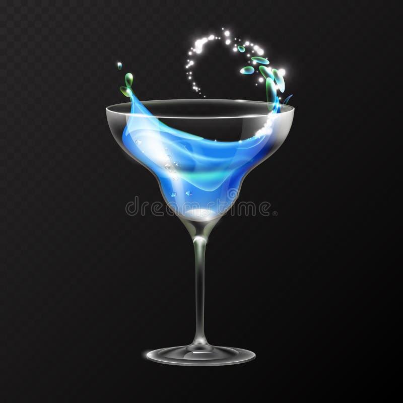 Realistic cocktail blue lagoon glass vector illustration. On transparent background vector illustration