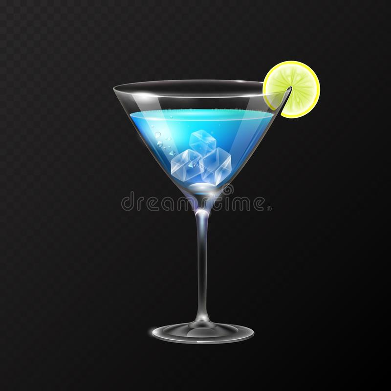 Realistic cocktail blue lagoon glass vector illustration. On transparent background royalty free illustration