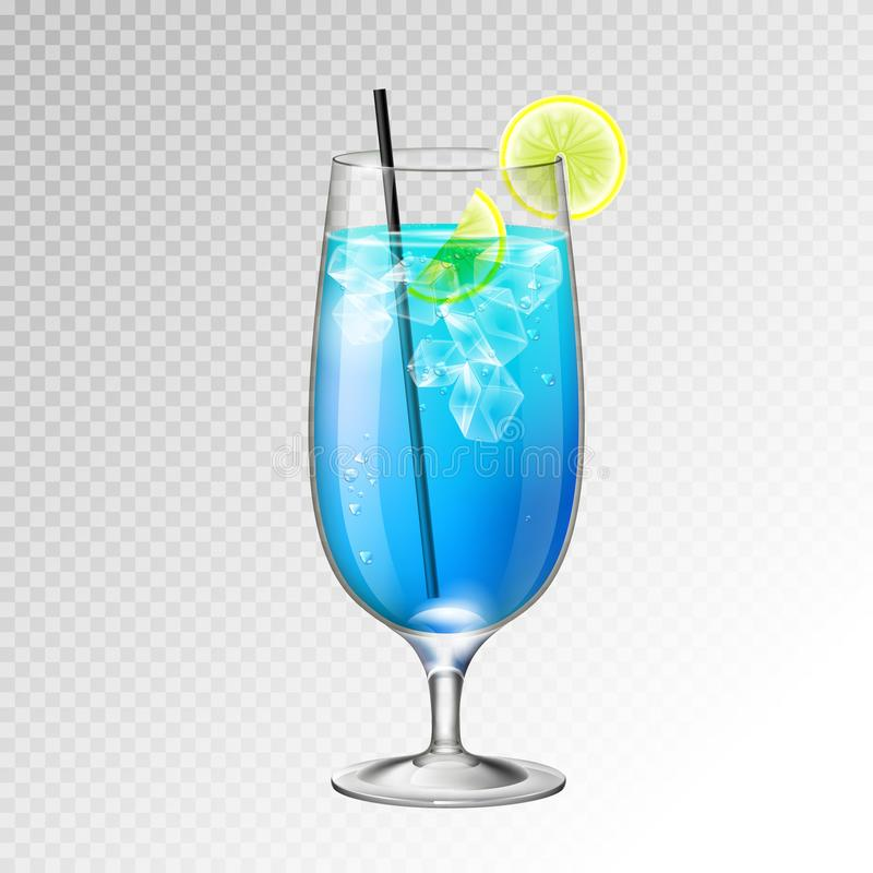 Realistic cocktail blue lagoon glass vector illustration. On transparent background vector illustration