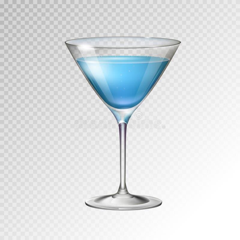 Realistic cocktail blue lagoon glass vector illustration. On transparent background stock illustration