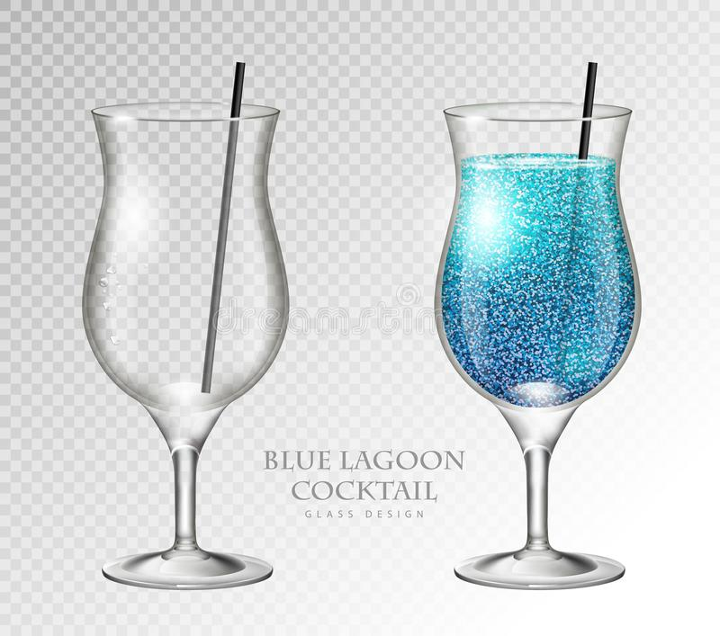 Realistic cocktail blue lagoon vector illustration on transparent background. Full and empty glass. Realistic cocktail blue lagoon on transparent background vector illustration