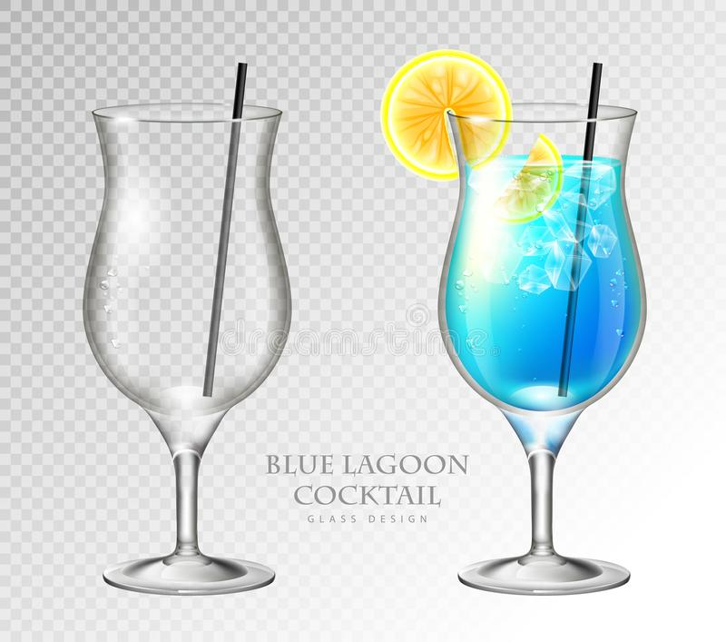 Realistic cocktail blue lagoon on transparent background. Full and empty glass. Realistic cocktail blue lagoon vector illustration on transparent background stock illustration
