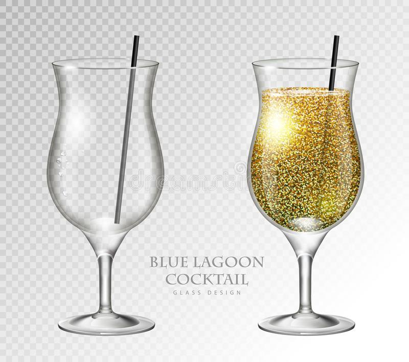 Realistic cocktail blue lagoon vector illustration on transparent background. Full and empty glass. Realistic cocktail blue lagoon on transparent background stock illustration
