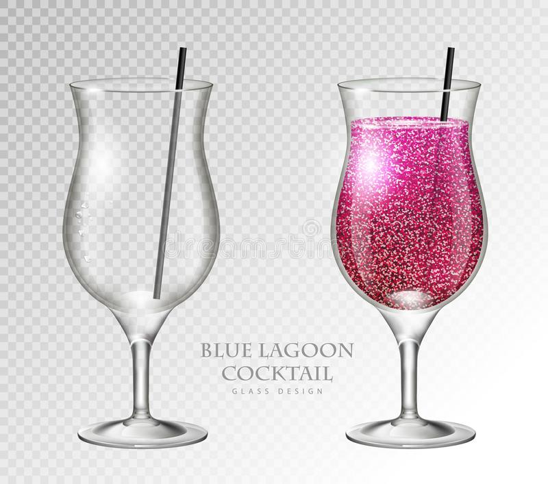 Realistic cocktail blue lagoon vector illustration on transparent background. Full and empty glass. Realistic cocktail blue lagoon on transparent background royalty free illustration