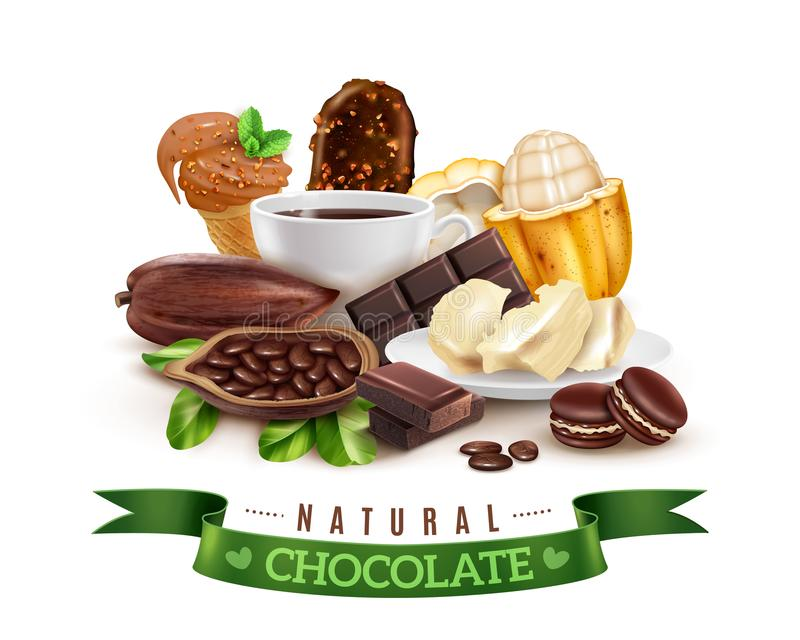 Realistic Cocoa Products Composition royalty free illustration