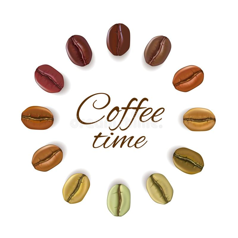 Realistic coffee beans placed in circle with place for text, i royalty free illustration
