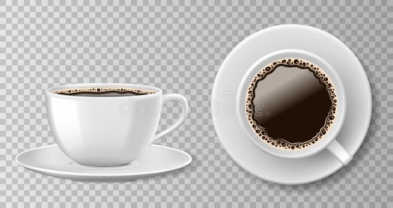 Realistic coffee cup top view isolated on transparent background. White blank mug with black coffee and saucer. Vector stock illustration