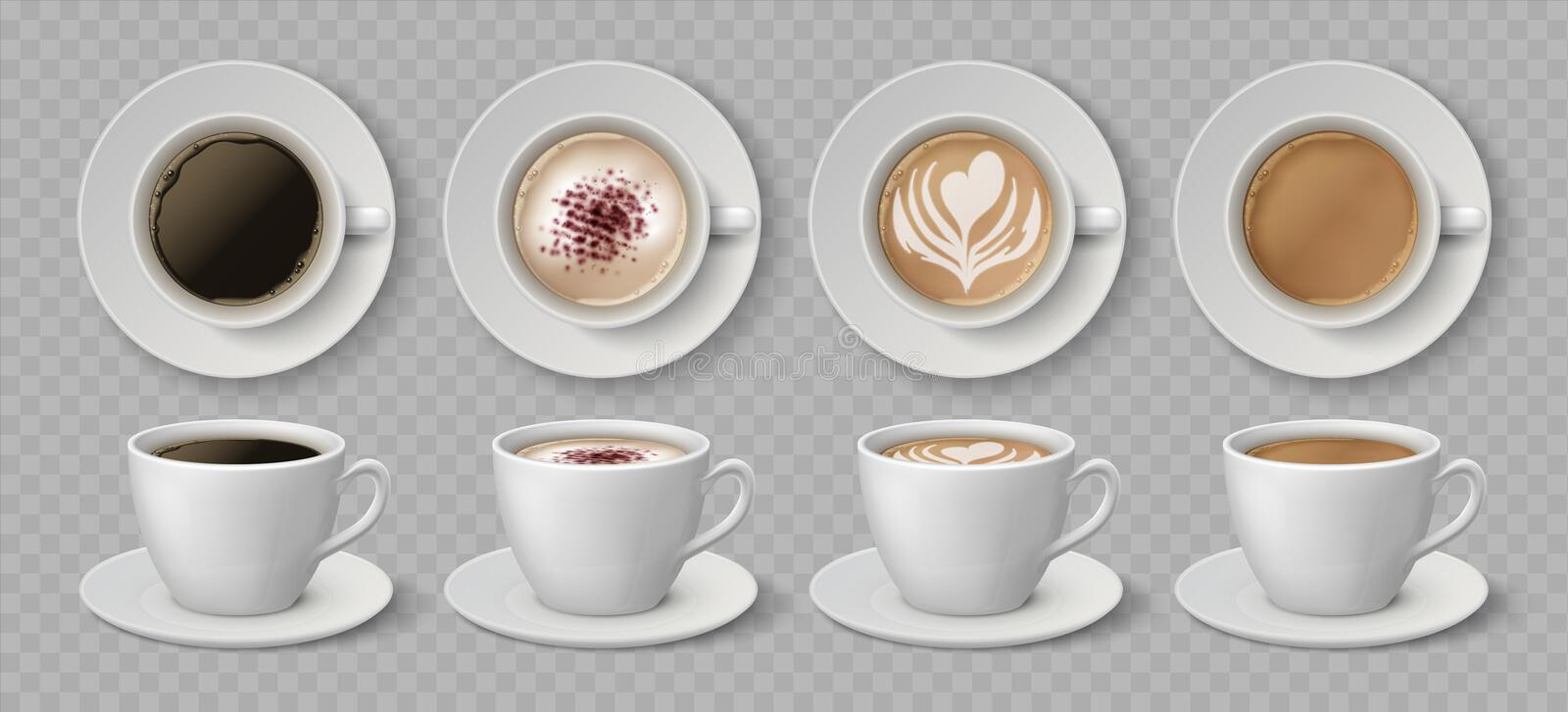 Realistic coffee cups. Espresso latte and cappuccino hot beverages, 3D mockup front and top views. Vector coffee drink. Realistic coffee cups. Espresso latte and stock illustration