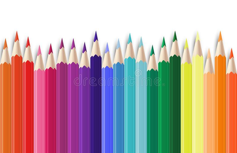 Realistic color pencils. 3D colored graphite sharpened colour pencils set. Vector school colorful objects background vector illustration