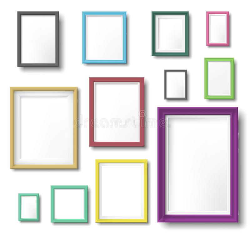 Realistic color photo frame. Rectangular picture frame hanging wall with realistic shadow, square borders and modern. Simple frames template. Wall photo shot vector illustration