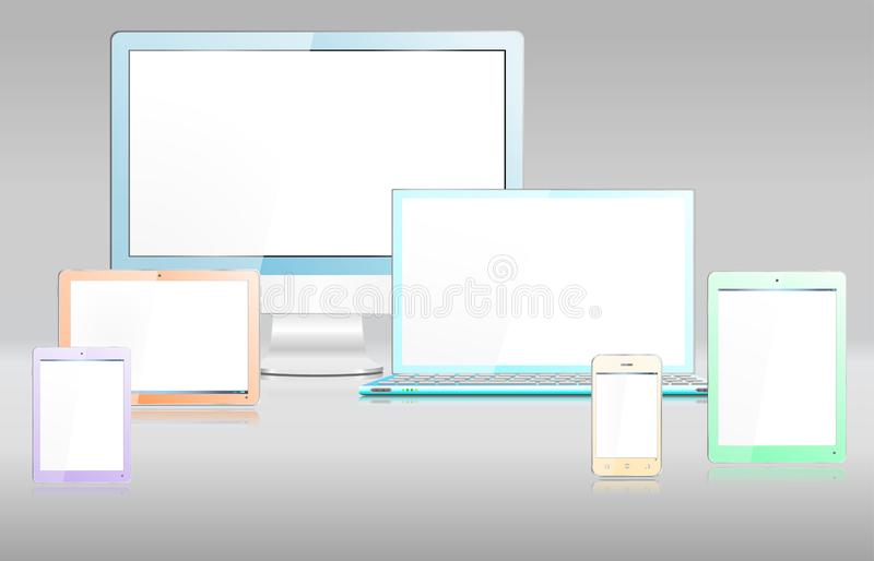 Realistic Colored Modern Computer Devices and Screen vector illustration