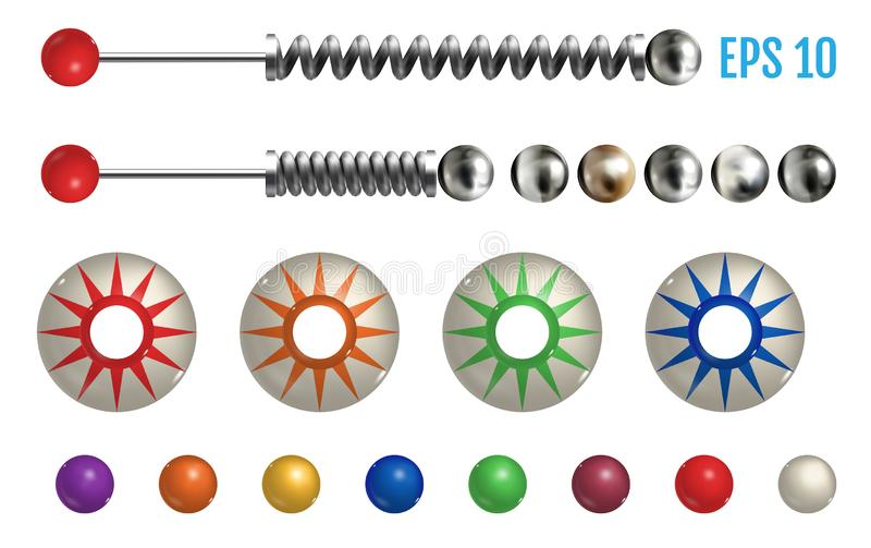 Pinball elements. Realistic set with different tools. Realistic colored pinball elements. Realistic pinball set with different tools. Game design and creative stock illustration