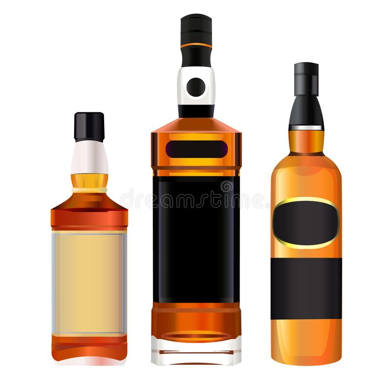 Realistic colorful alcohol bottles stock illustration