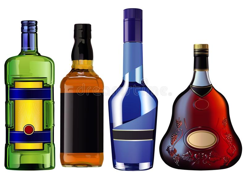 Realistic colorful alcohol bottles royalty free illustration