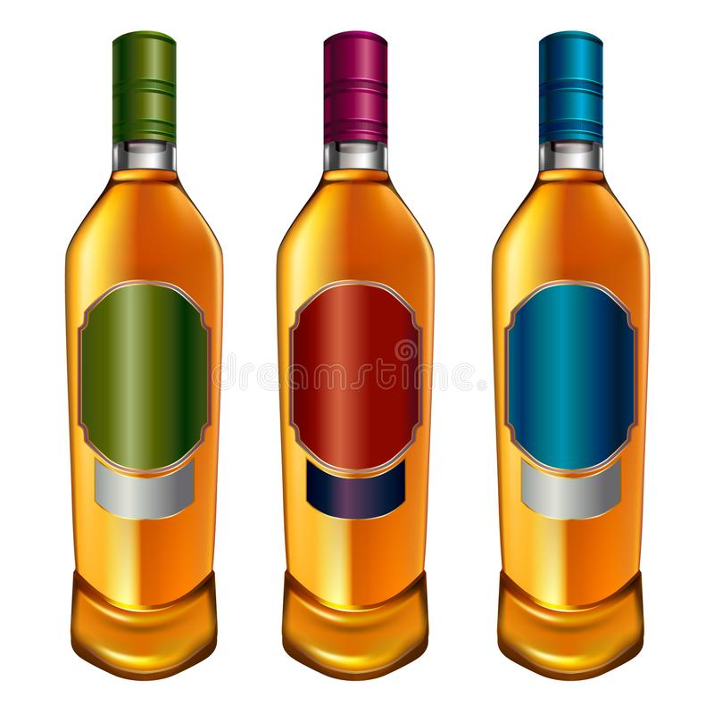 Realistic colorful alcohol bottles vector illustration