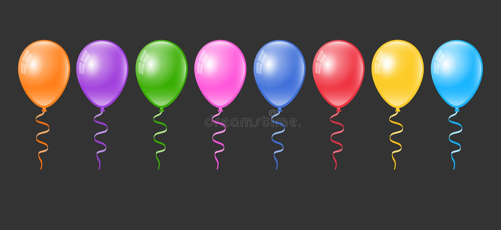 Realistic colorful balloons set. Balloon collection. royalty free illustration