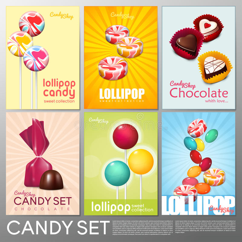 Realistic Colorful Candy Shop Brochures Set. With chocolate sweet products and lollipops vector illustration stock illustration
