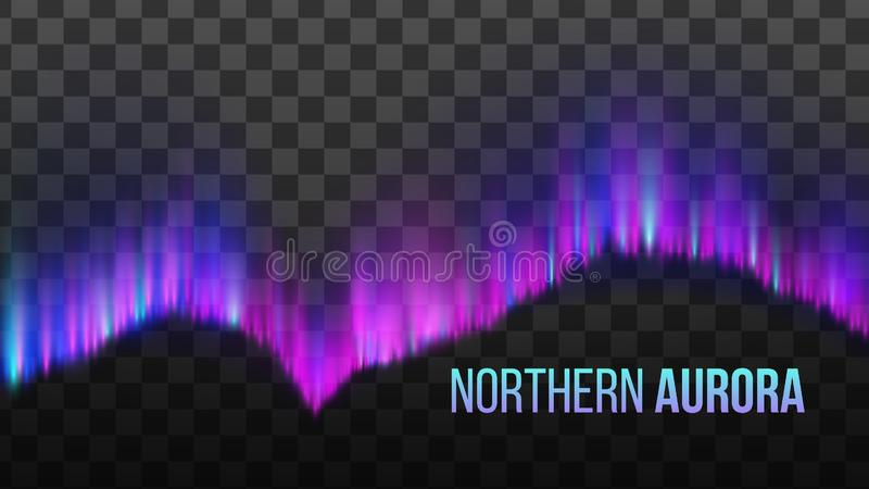 Realistic Colorful Northern Aurora Light Vector royalty free illustration