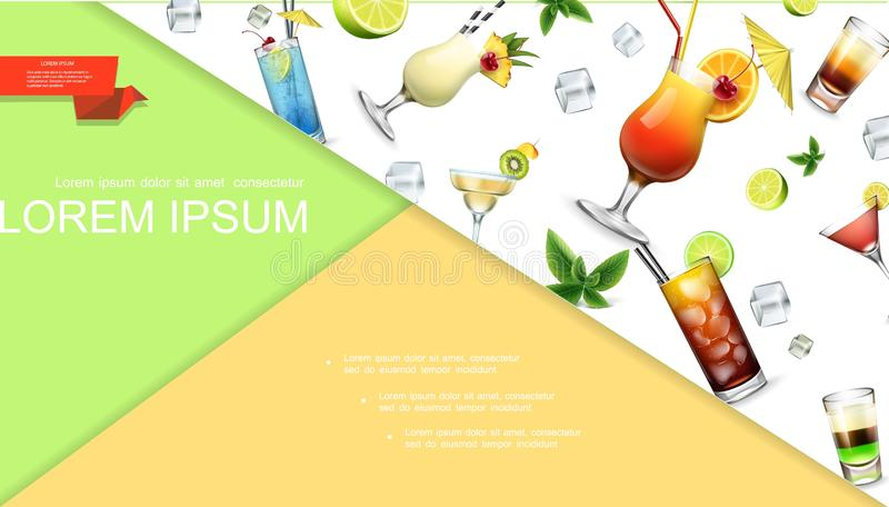 Realistic Colorful Summer Cocktails Concept. With blue lagoon tequila sunrise pina colada cuba libre martini margarita shot drinks fruit slices ice cubes vector stock illustration